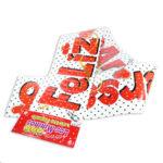 festón   Feliz Aniversario  Letreros los Mininos Pequeño blanco Rojo 97 cm x 13 cm