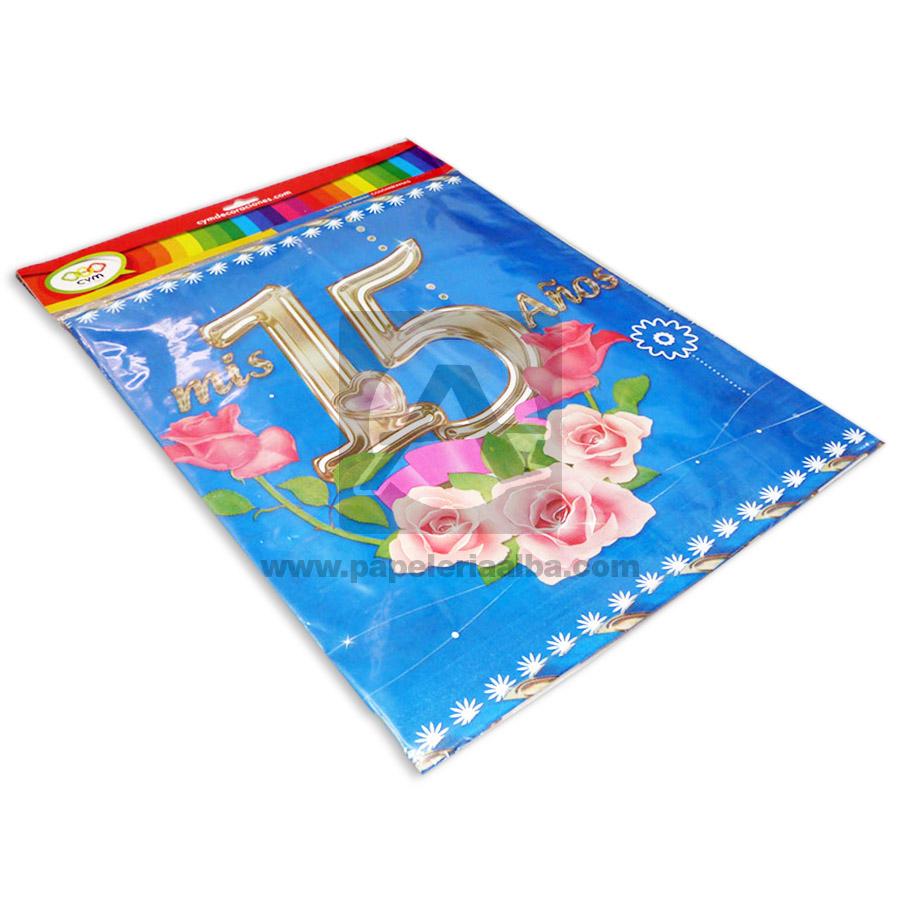 mantel  Decorativo Mis 15 Años  CyM Azul 1.50 Metros de ancho x 2.10 Metros de Largo