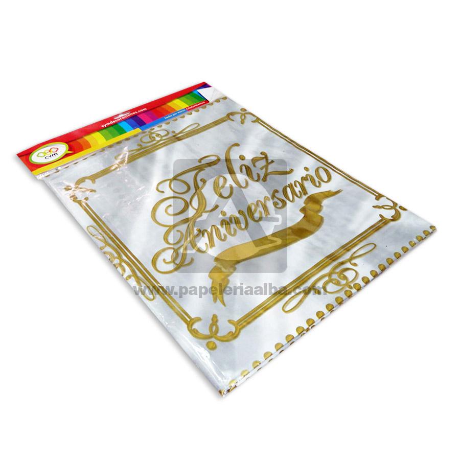 mantel  Decorativo Feliz Aniversario  CyM Dorado Gris 1.50 Metros de ancho x 2.10 Metros de Largo