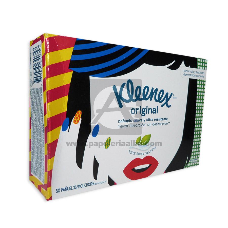 pañuelo desechable  Originales suaves y Ultra Resistentes  Kleenex 50 Unidades