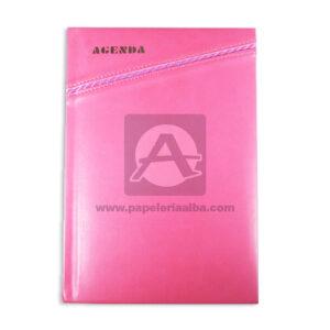 personal agenda Sencilla Metacolor Rosado femenino Cosida Rayada Mediana
