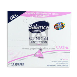 desodorante Sobre Clinical Protection Care Gel Caja Balance femenino 10,5 Gramos Sachets 18 Unidades