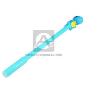 bolígrafo En gel Con Muñeco en Goma de Cocodrilo Madcolor azul aguamarina Negro femenino
