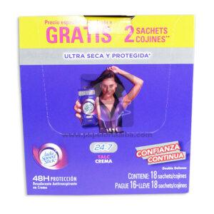 desodorante Crema Antitranspirante Talc 24:7 Caja Lady Speed Stick femenino 10 Gramos Sachets 18 Unidades