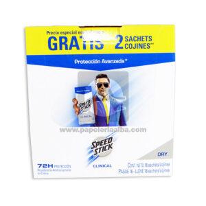 desodorante Clinical Protección Avanzada 72h Dry Caja Speed Stick masculino 9 Gramos 18 Unidades Sachets