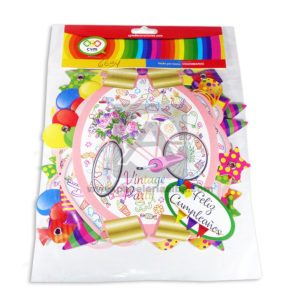 guirnalda Letrero Feliz Cumpleaños Vitage Party Bicicleta CyM Rosado 14cm ancho 2m largo Mediano femenino