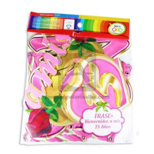guirnalda Letrero Para fiesta de Quince, Bienvenidos a Mis 15 Años Rosas CyM Rosado Largo femenino papeleria alba