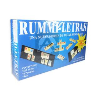 juego de mesa Rummi-Letras Tula Plásticos Asociados 212 Fichas 6 Parrillas Caja 2-6 Jugadores +8 Años