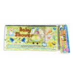 tarjeta de invitación  Babby Shawer  JM unisex Grande 18x8cm Escarchada  Perfumada  12 unidades