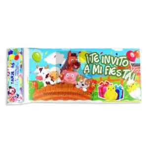 tarjeta de invitación Evento epecial, Te invito a mi Fiesta animales de granja Galvin unisex Escarchada Perfumada 12 unidades