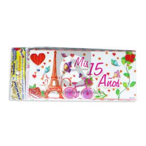 tarjeta de invitación de quince Mis 15 Años París Galvin Rosado femenino 18x8cm Escarchada Perfumada 12 unidades