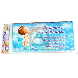 tarjeta de invitación Fiesta de Bautizo, Te Invito a mi Bautizo Angelito Galvin unisex 18x8cm Escarchada Perfumada 12 unidades
