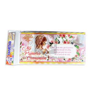 tarjeta de invitación Fiesta de Comunión, Mi primera Comunión Galvin femenino 18x8cm Escarchada Perfumada 12 unidades