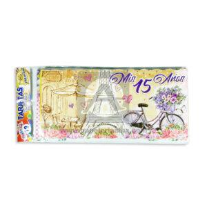 tarjeta de invitación Para fiesta de quince, Mis 15 Años Paris Torre Eiffel Galvin femenino café 18x8cm Escarchada Perfumada 12 unidades