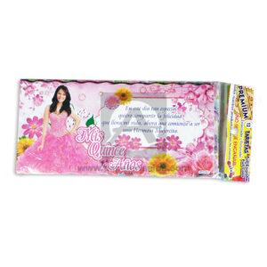 tarjeta de invitación Fiesta de 15, Mis quince Años Económica Galvin Rosado femenino 18x8cm Escarchada Perfumada 12 unidades