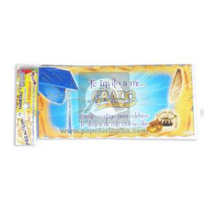 tarjeta de invitación Fiesta de Grados, Te invito a mi Grado Galvin unisex 18x8cm Escarchada Perfumada 12 unidades
