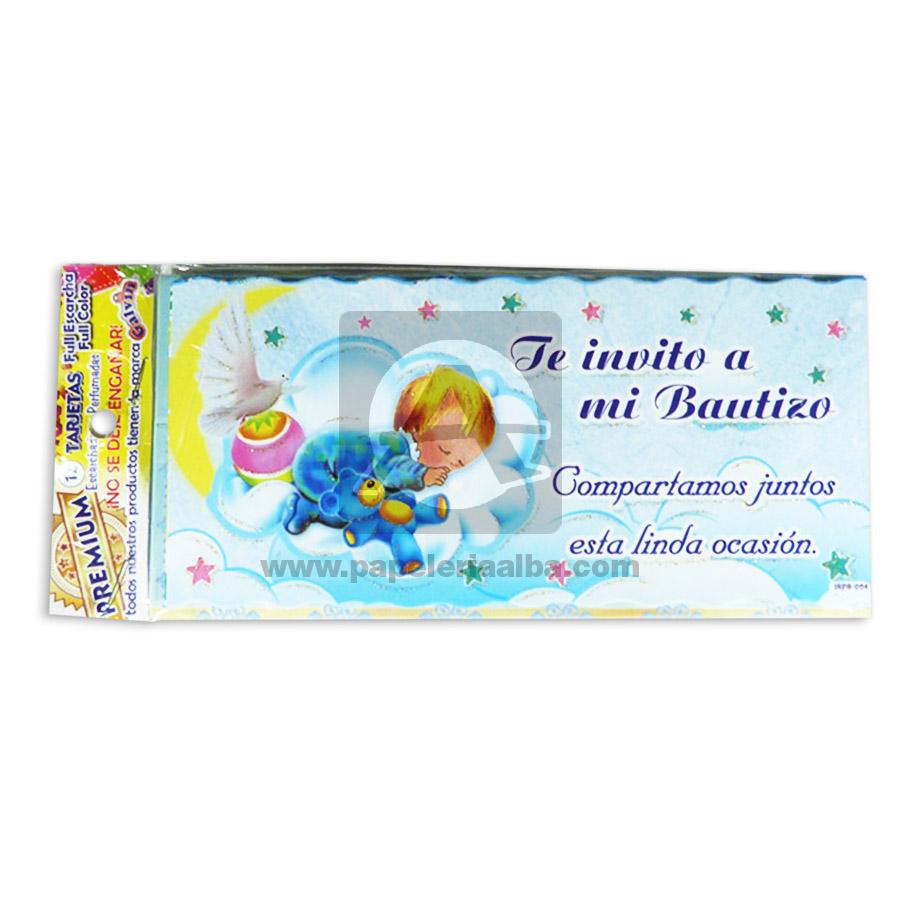 Tarjeta De Invitación Para Fiesta De Bautizo Te Invito A Mi Bautizo Galvin Unisex 18x8cm Escarchada Perfumada 12 Unidades