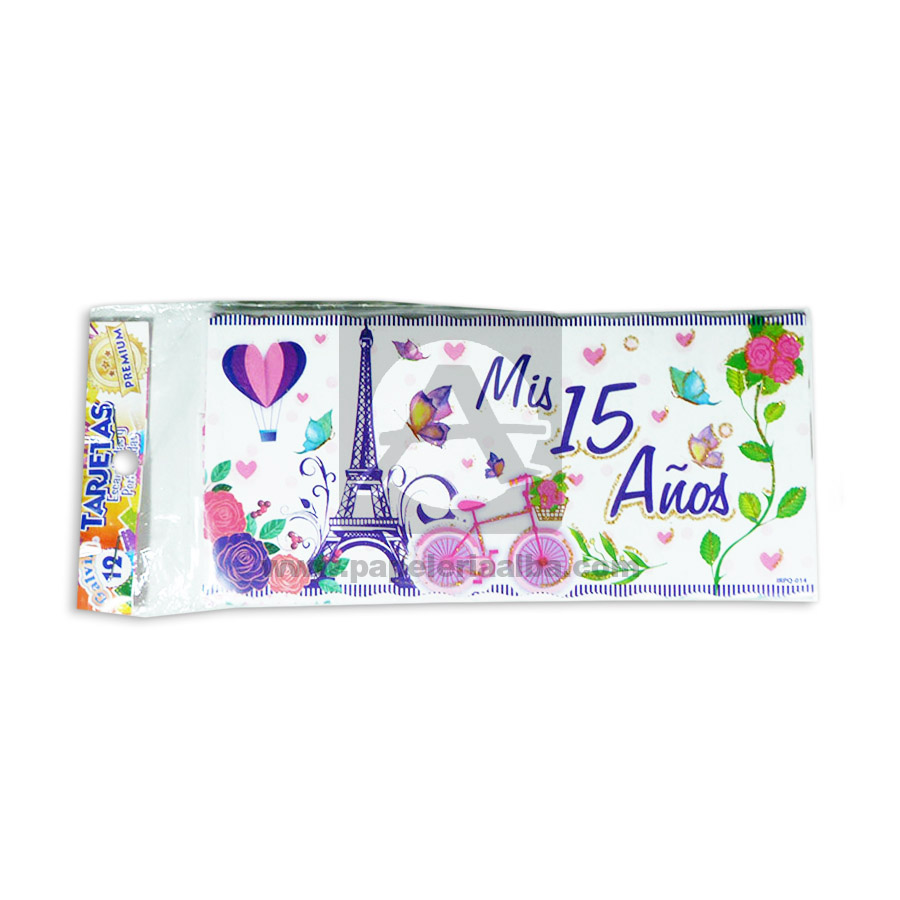 Tarjeta De Invitación Mis 15 Años París Galvin Femenino 18x8cm Escarchada Perfumada 12 Unidades Morado