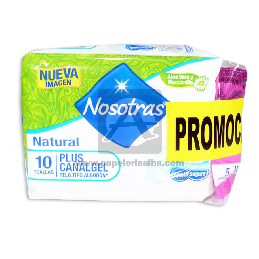 toalla higiénica  Natural Plus Canal Gel  Promo Pack   Nosotras femenino 2 Unidades 10 Toallas + 5 Protectores Tela