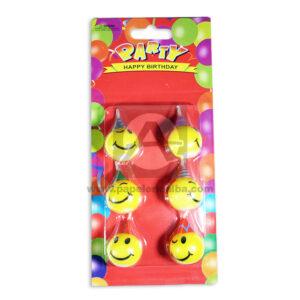vela Carita Feliz Party Birthday Surtifantasias unisex Pequeña 6 unidades amarillo papeleri alba