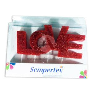 vela Letrero Love Escarchado Sempertex Rojo Grande