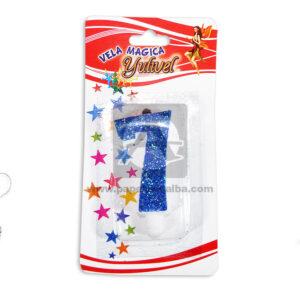 vela Torta Numero 7 Mágica Yulivel Escarchada Cuantias Azul unisex Mediana