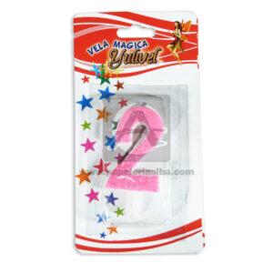 vela Torta Numero 2 Mágica Yulivel Escarchada Cuantias rosado femenino Mediana