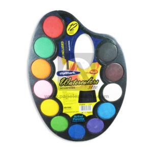 acuarela Papeleta Artística Watercolor Kids 3809 Studmark Surtido 12 unidades +Pincel