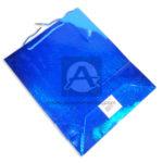Bolsa de Regalo  Metalizada Cuadritos   Primavera Azul Grande
