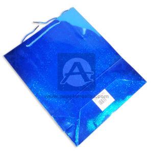 bolsa papel regalo Metalizada Cuadritos Primavera Azul Grande