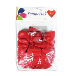 Bomba Globo Corazón Te Quiero Mucho Mami Estampada Sempertex R-12 Rojo 12 unidades