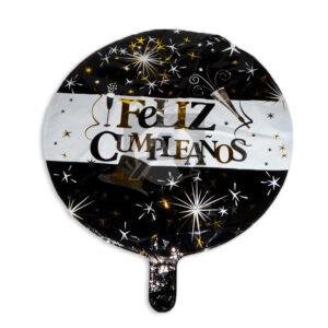 Globo Para decoración de Cumpleaños, Feliz Cumpleaños Juegos Pirotécnicos Fival blanco Metalizado Negro Grande