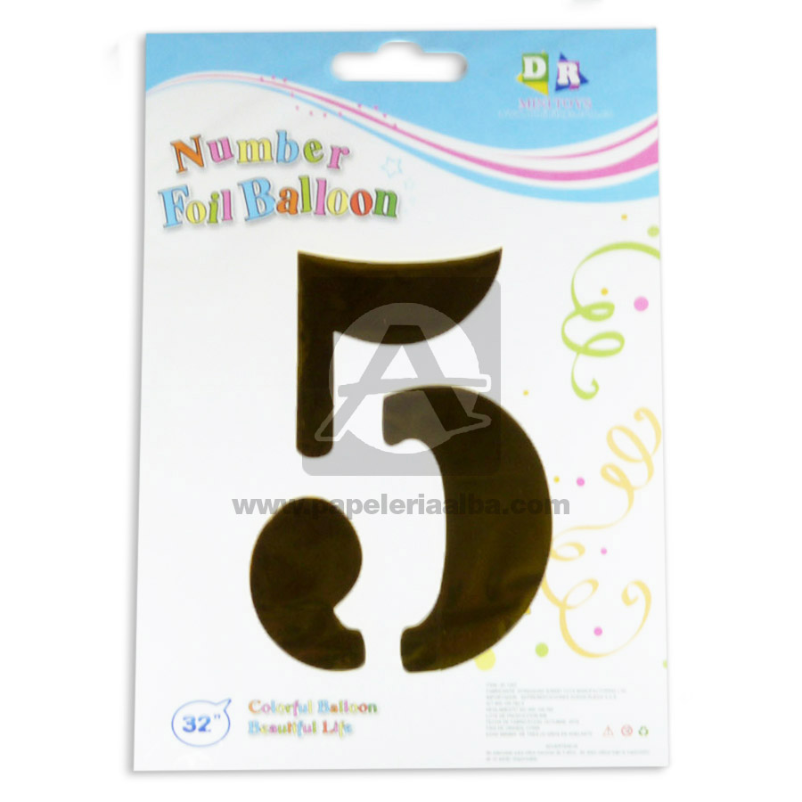 Globo  Numero 5 Number Foil Balloon  MiniToys Dorado Metalizado 32'' Grande