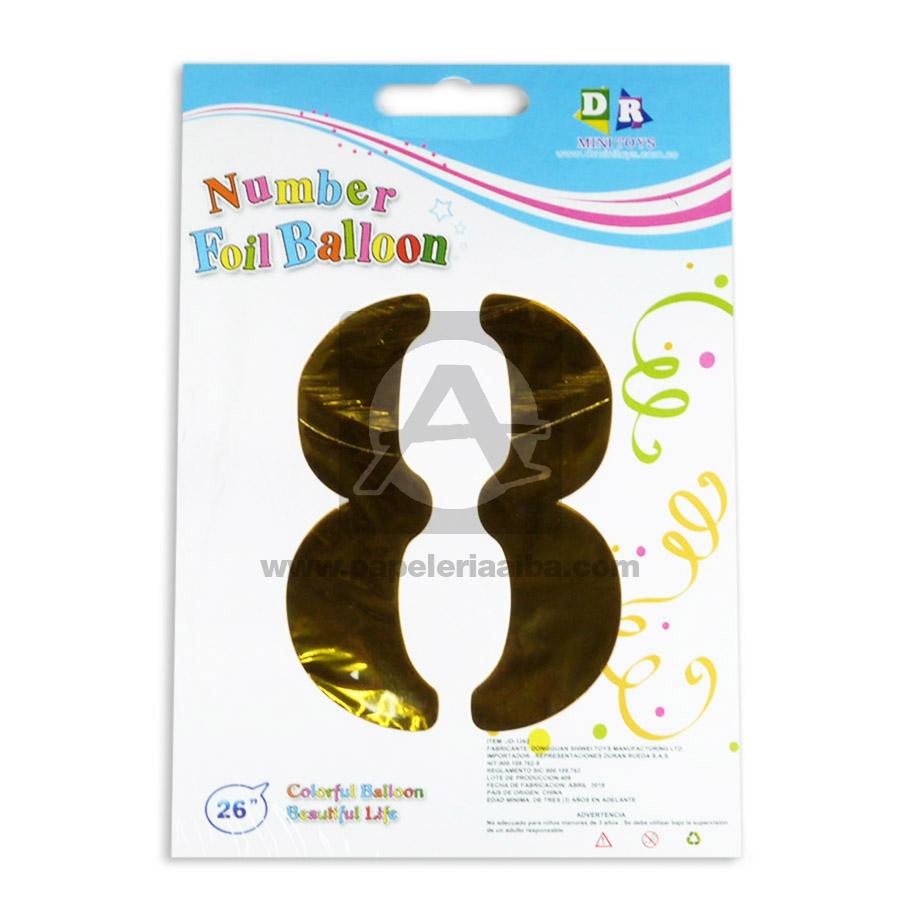 Globo  Numero 8 Number Foil Balloon  MiniToys Dorado Metalizado 26'' Grande