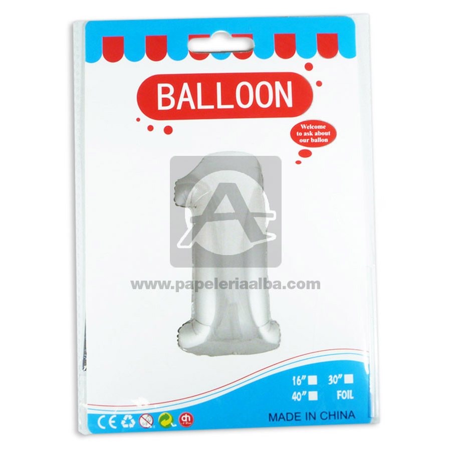 Globo  Numero 1 Balloon  Fival Dorado Metalizado 16'' Pequeño