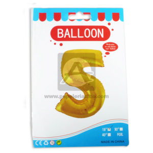 Bomba Globo Numero 5 Ballon AH Royal Dorado Metalizado 16'' Pequeño