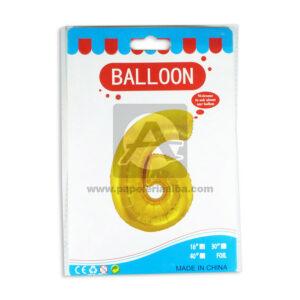 Bomba Globo Numero 6 Ballon AH Royal Dorado Metalizado 16'' Pequeño
