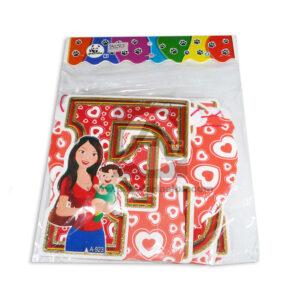 guirnalda Decorativa para el día de las Madres, Feliz día Mamá Panda blanco Rojo Largo femenino