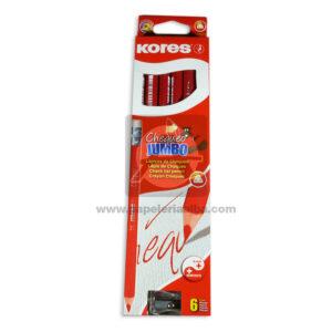 lápiz color Chaqueo Jumbo kores Rojo 6 unidades Caja + Tajalapiz