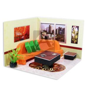 Maqueta Espacio de Interior Sala De Estar Con Sofá y Centro de mesa Innovar Grande Cartón