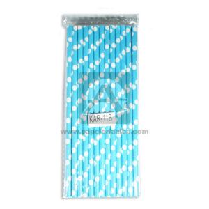 pitillo de papel Polka Surtifantasias azul aguamarina blanco 13 Unidades Largo