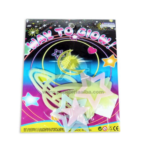 accesorio de decoración Set De estrellas Y Astros Neón way to glow Cuantias Surtido Mediano 5 Unidades
