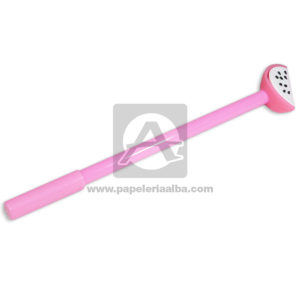 lapicero bolígrafo En gel con Figura de Goma, Sandia Madcolor rosada Tinta Negra unisex 0.7mm Punta fina Punta Metálica