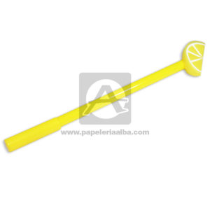 lapicero bolígrafo En gel con Figura de Goma, Sandia Madcolor amarillo Tinta Negra unisex 0.7mm Punta fina Punta Metálica