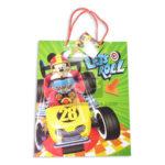 Bolsa de Regalo  Estampada Mickey Mouse, aventura sobre ruedas, Let`s Roll  con  cordón Sujetador  Primavera verde Grande L Niño