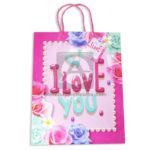 Bolsa de Regalo  Estampada de Flores,  I Love You con cordón Sujetador  Primavera Palo Rosa Grande L femenino