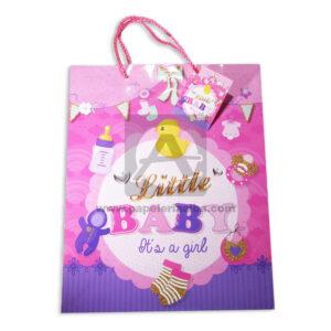 Bolsa de Regalo Estampada para baby shawer, little baby i`ts a girl con cordón Sujetador Primavera Multicolor Grande L femenino