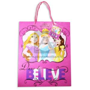 Bolsa de Regalo Estampado de Princesas, Believe con cordón Sujetador Primavera Multicolor Grande L femenino