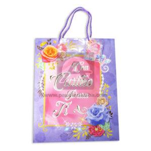 Bolsa de Regalo Estampada de Flores, Con Cariño para ti de cordón Sujetador Primavera Multicolor Grande L femenino