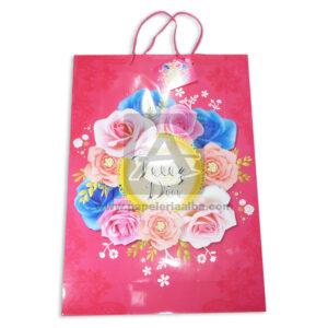 Bolsa de Regalo Estampada de Flores, Feliz día de cordón Sujetador Primavera Multicolor Grande L femenino
